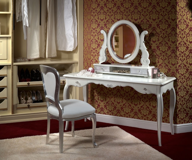 white dressing table designs and ideas for modern interior bedroom
