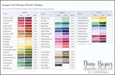 Stampin' Up! Stampin Blends Colour Chart - coloured