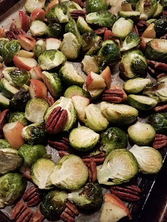 Easy to assemble, then just bake! How to make Oven Roasted Brussels Sprouts with Apples and Pecans