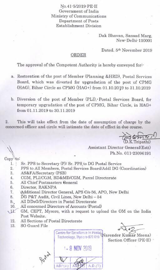 Regarding restoration of the post of Member Planning and HRD & Diversion of the post of Member PLI Postal Service Board