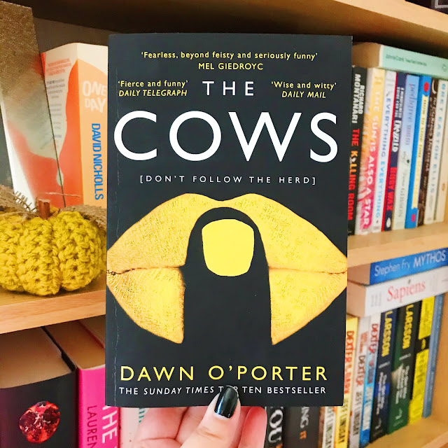 The Cows by Dawn O'Porter held up in front of bookshelf with books and small pumpkin in background