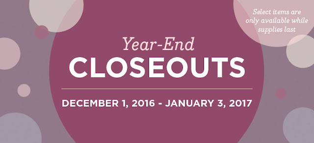 Year-End closeouts December 1, 2016-January 3, 2017 available while supplies last at www.darlaolson.stampinup.net