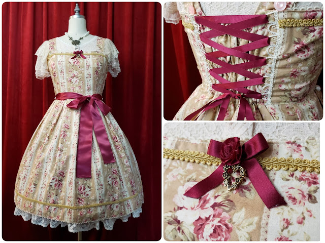 Light Brown Floral Stripe Dress completion photo collage with closeups of the lacing and ribbon details in red