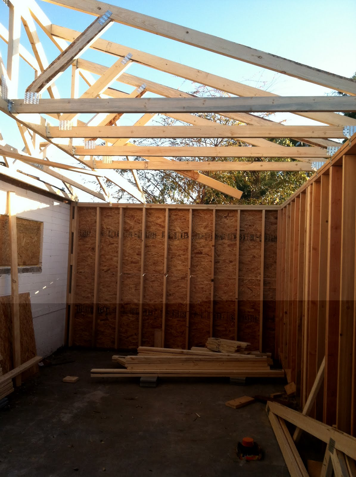 The Diy Bathroom Addition More Framing And Trusses