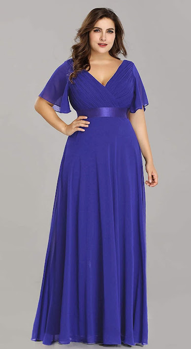 Royal Blue Plus Size Chiffon Bridesmaid Dresses