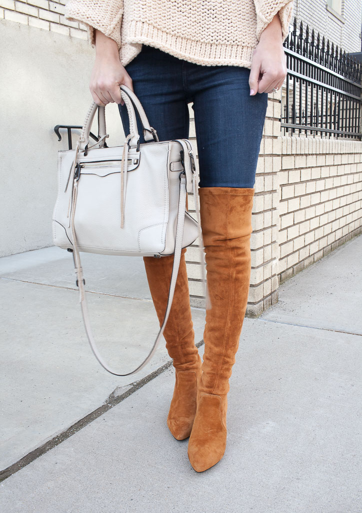 Cognac over the knee boots and a slouchy sweater
