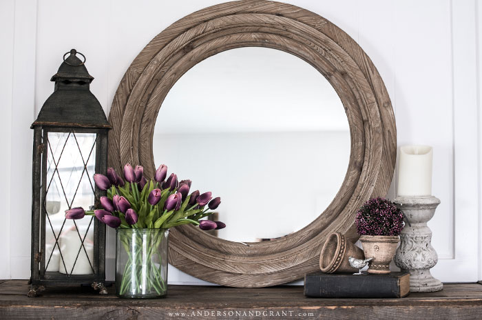 Spring decorated mantel with wood mirror