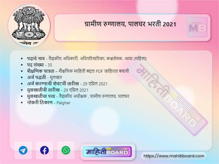 Gramin Rugnalaya Palghar Recruitment 2021