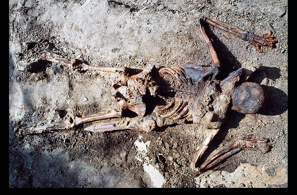 Σκελετός στρατιώτη με σιδερένιο σπαθί, ζώνη, δερμάτινο και χάλκινο σακίδιο, και σιδερένιο στιλέτο