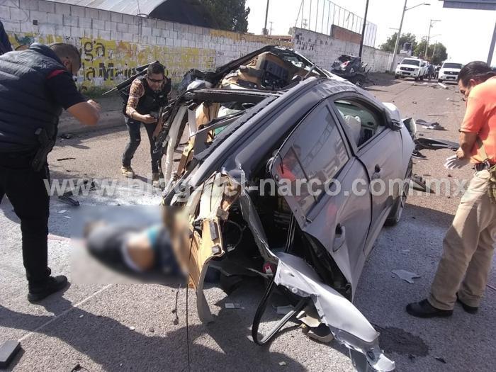 Rata se mata en persecución al accidentarse y partirse en dos la camioneta que había robado con violencia momentos antes en Aguascalientes