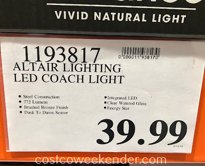 Deal for the Altair Lighting LED Outdoor Lantern at Costco
