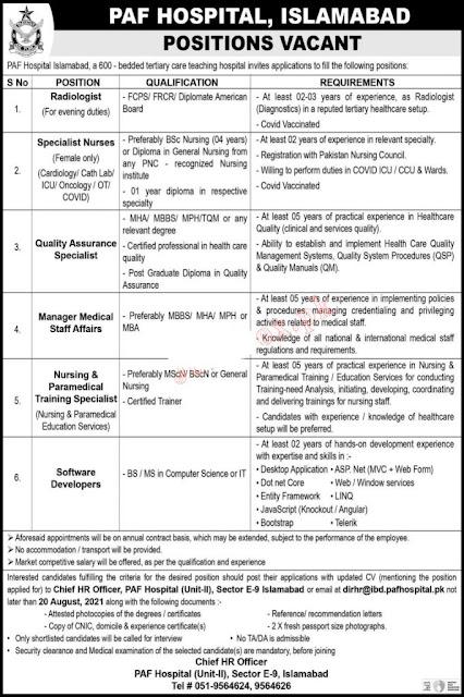 Pakistan Air Force Hospital Jobs in Pakistan 2021