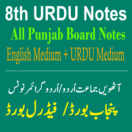 Easy Notes Publishers 8th Class URDU Notes In PDF Download