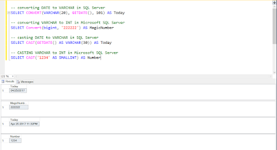 SQL Server CAST, Convert and PARSE Function example