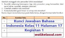Kunci jawaban bahasa indonesia kelas 11 halaman 195. Kunci Jawaban Bahasa Indonesia Kelas 11 Halaman 17 Kegiatan 1 Wali Kelas Sd
