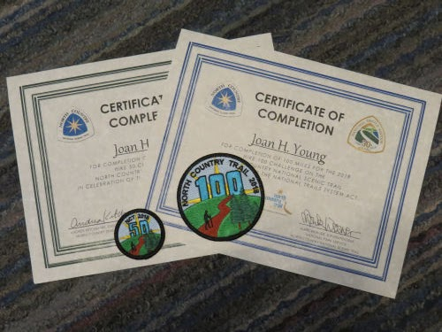 North Country Trail Hike 50 and Hike 100 Challenge patches for 2018