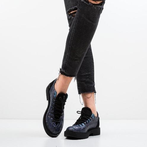Pantofi casual albastri cu piele de sapre