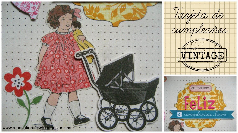 Tarjeta de cumpleaños scrapbooking vintage / Birthday card