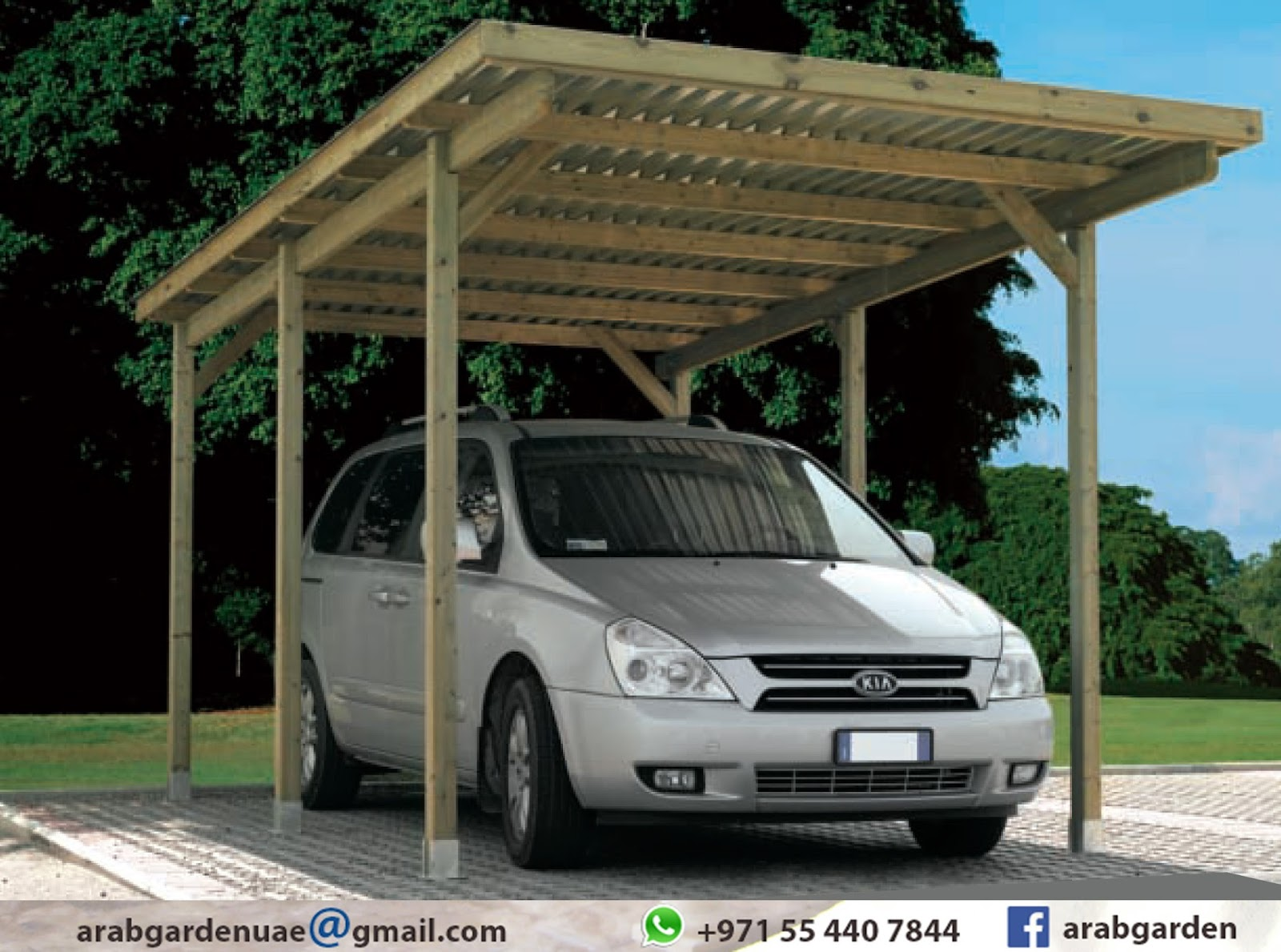 Wooden pergola contractor for 7 shades salon dubai