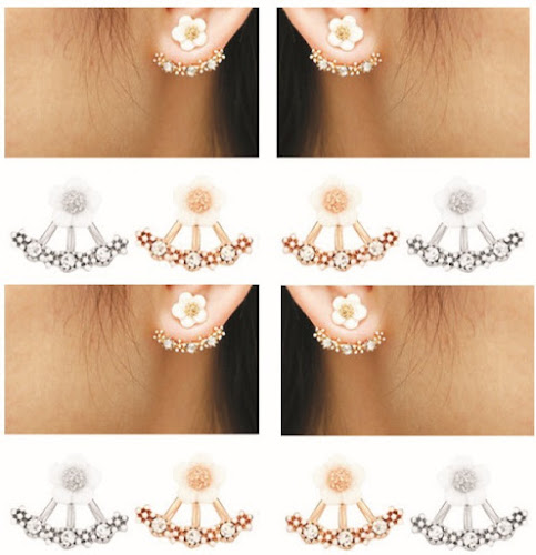 Ladies 2-in-1 Ear Jewelry: Flower Earstuds and Fashion-Crystal Earrings for Women