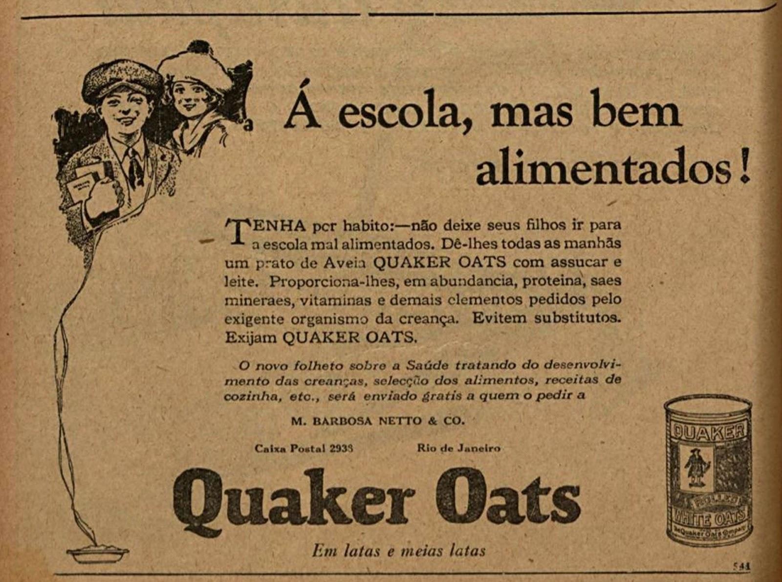 Propaganda antiga da Quaker promovendo sua famosa aveia para alimentação de estudantes em 1926