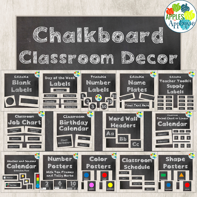 Classroom decor in a clean and fresh chalkboard theme | Apples to Applique