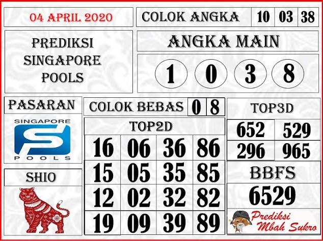 Bocoran Togel Singapura Sabtu 04 April 2020 - Syair Mbah Sukro SGP