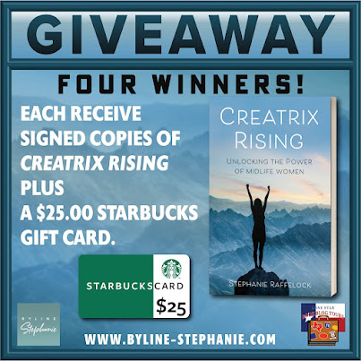 Creatrix Rising tour giveaway graphic. Prizes to be awarded precede this image in the post text.