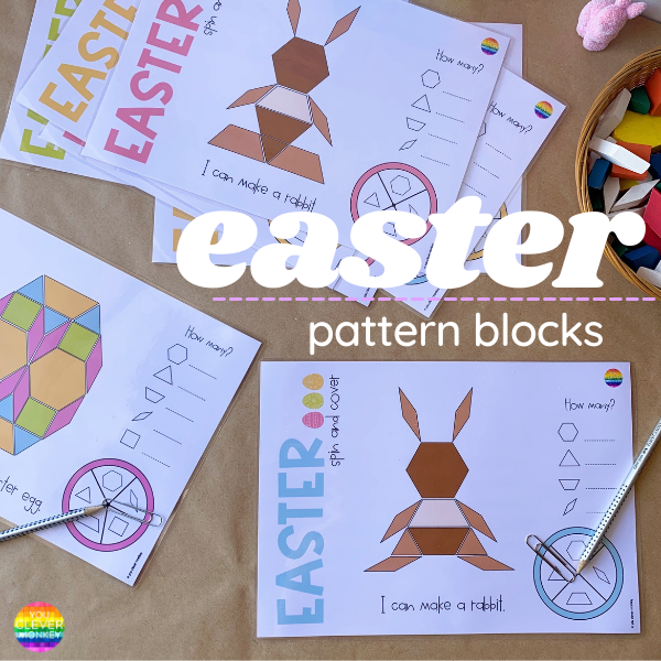 Easter Pattern Block Printables - these easy to prep single page Easter-themed pattern block spin and cover games are just what you need this Easter to help engage your kindergartner and build their visual discrimination and spatial awareness all while learning about 2D shapes | you clever monkey
