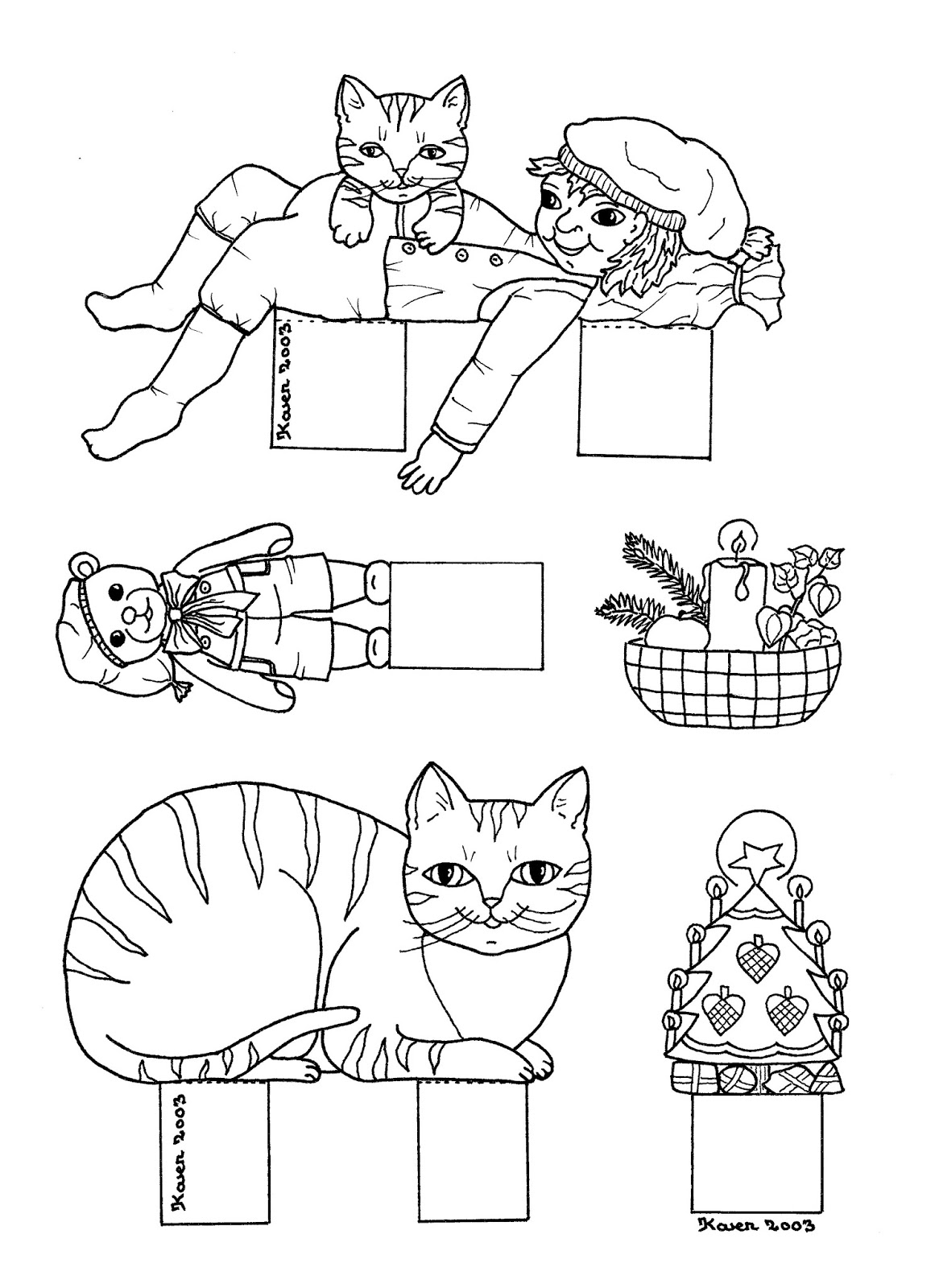 karens kravlenisser cut outs and colouring pages christmas