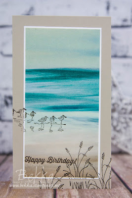 Beach Feel Birthday Card Featuring the Wetlands Stamp Set and Serene Scenery Papers from Stampin' Up! UK - get them here