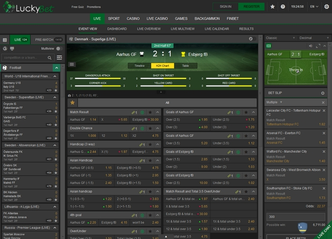 Luckybet Live Betting Screen