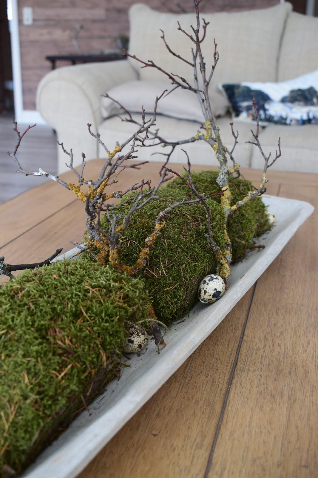 Deko mit Natur Moos Geäst Wachteleier einfach selbermachen Osterdeko dezent elegant Ostern Tischdeko Dekoidee dekorieren