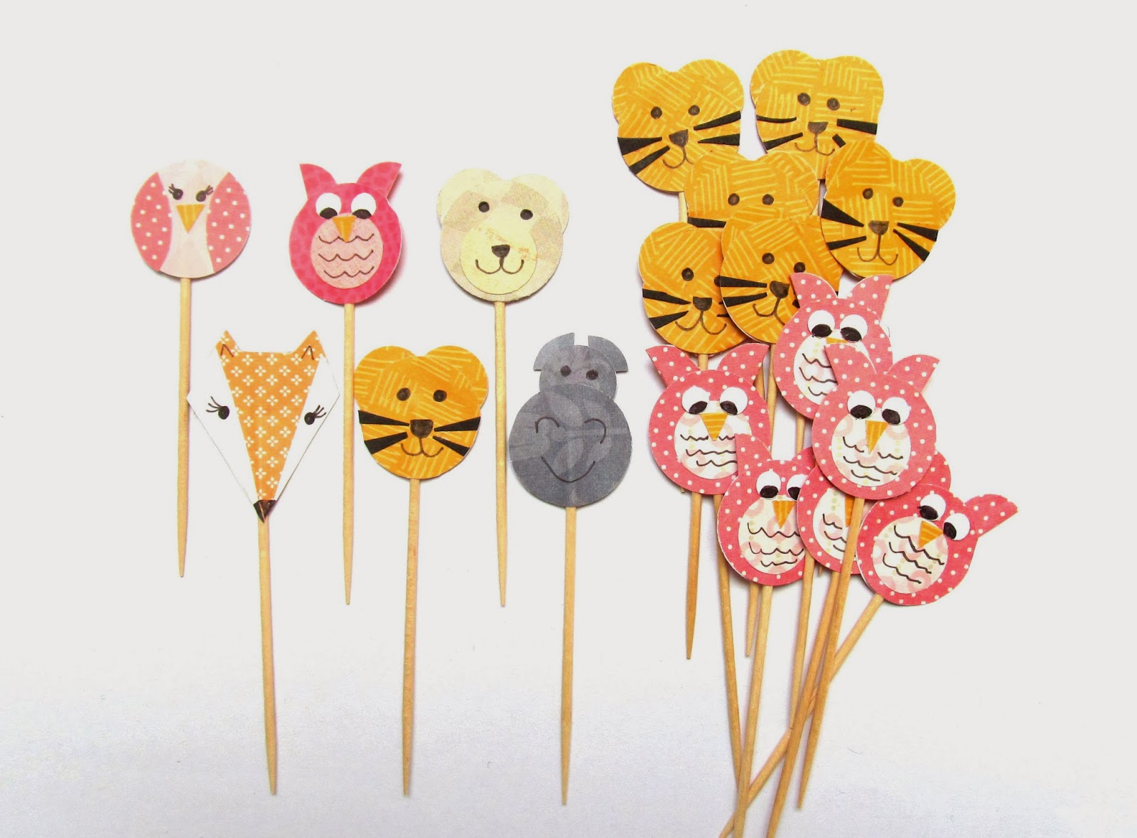 Cute animal cupcake toppers by Pink Flamingo Handcrafting