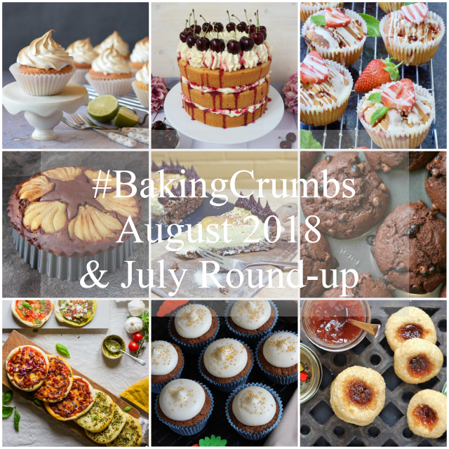 24 bakes from July's #BakingCrumbs linky, with lots of #BakingInspiration with #ChocolateRecipes, #Recipes that use #SeasonalBerries, as well as #IdeasForBakingWithChildren and some #NoBakeDesserts..