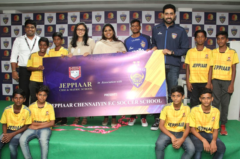 Actor Abhishek Bachchan launched Chennaiyin FC Soccer School at Jeppiaar Engineering College.