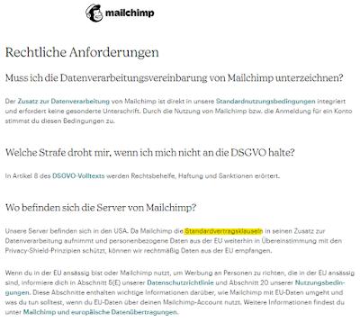 Werbeversprechen: Mailchimp Rechtliche Anforderungen genügen der EU-DSGVO nicht!
