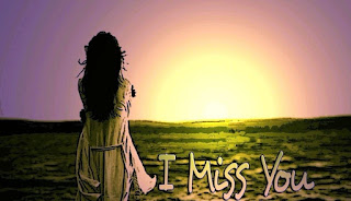 girl standing in front of rising sun with i miss you image