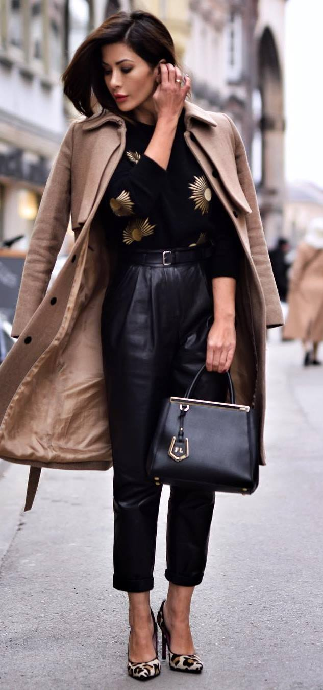 elegant winter outfit / cashmere coat + printed sweater + black leather pants + bag + heels