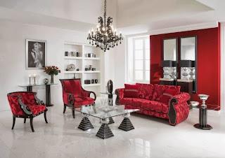 Salón rojo y blanco