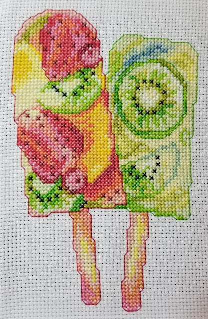 Completed Mini Fruity Popsicles Cross Stitch