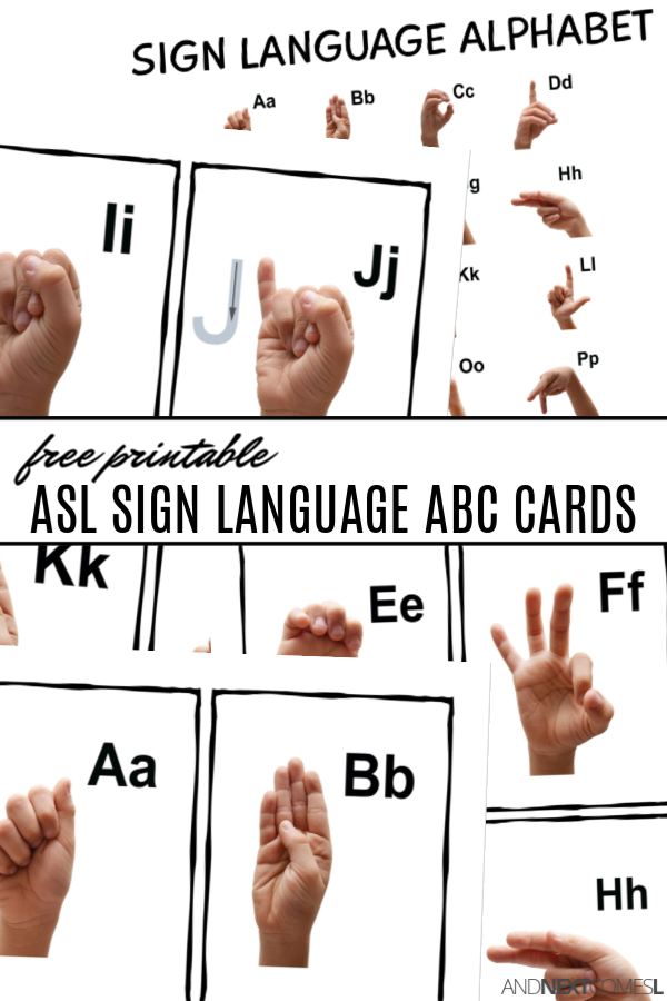 Free printable ASL sign language alphabet cards and poster