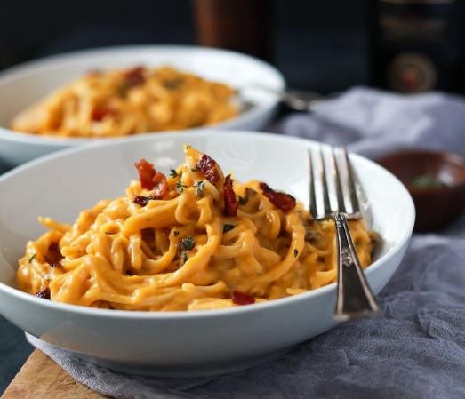 Creamy Butternut Squash Alfredo Pasta #dinnerrecipe #healthy