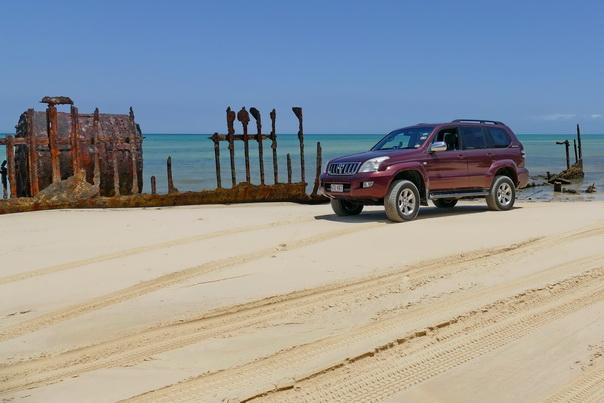 Schiffswrack, Strand, Meer, Moreton, Island, Insel, australien, Auto, 4x4, Sand