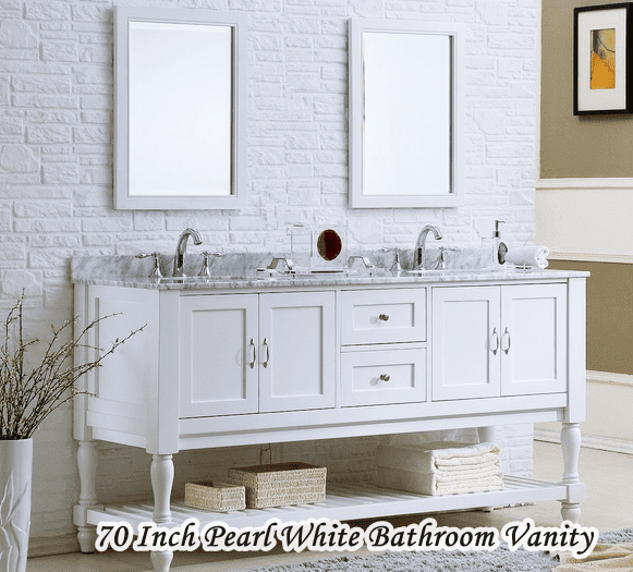 70 Inch Bathroom Vanity White Pearl