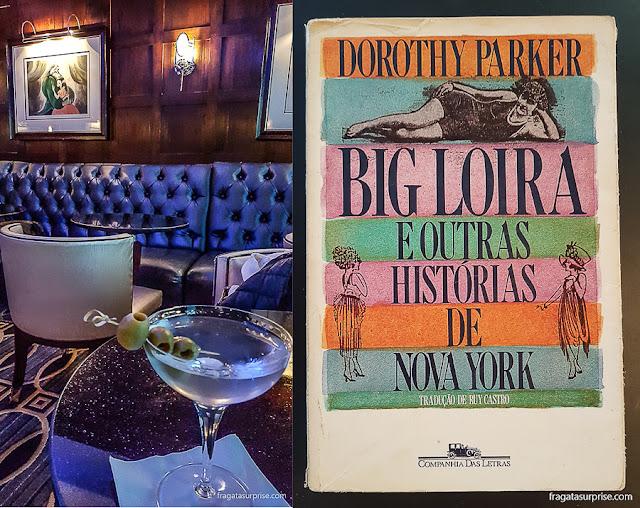 """Bar do Hotel Algonquin, Nova York, e """"Big Loira e outras histórias de Nova York"""", livro de Dorothy Parker"""
