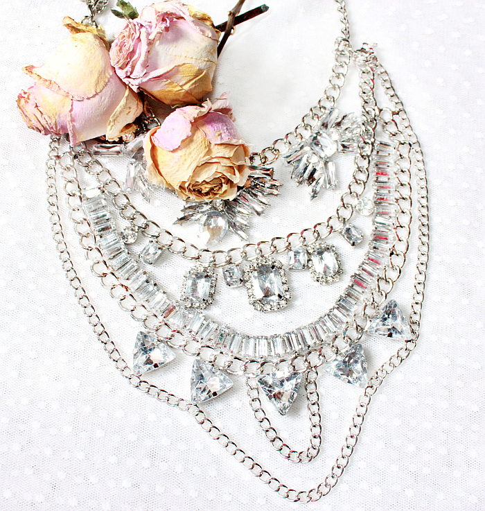 clear crystal statement necklace, costume jewelry, layered silver chains and rhinestones necklace