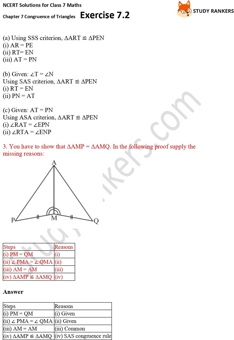 NCERT Solutions for Class 7 Maths Ch 7 Congruence of Triangles Exercise 7.2 3