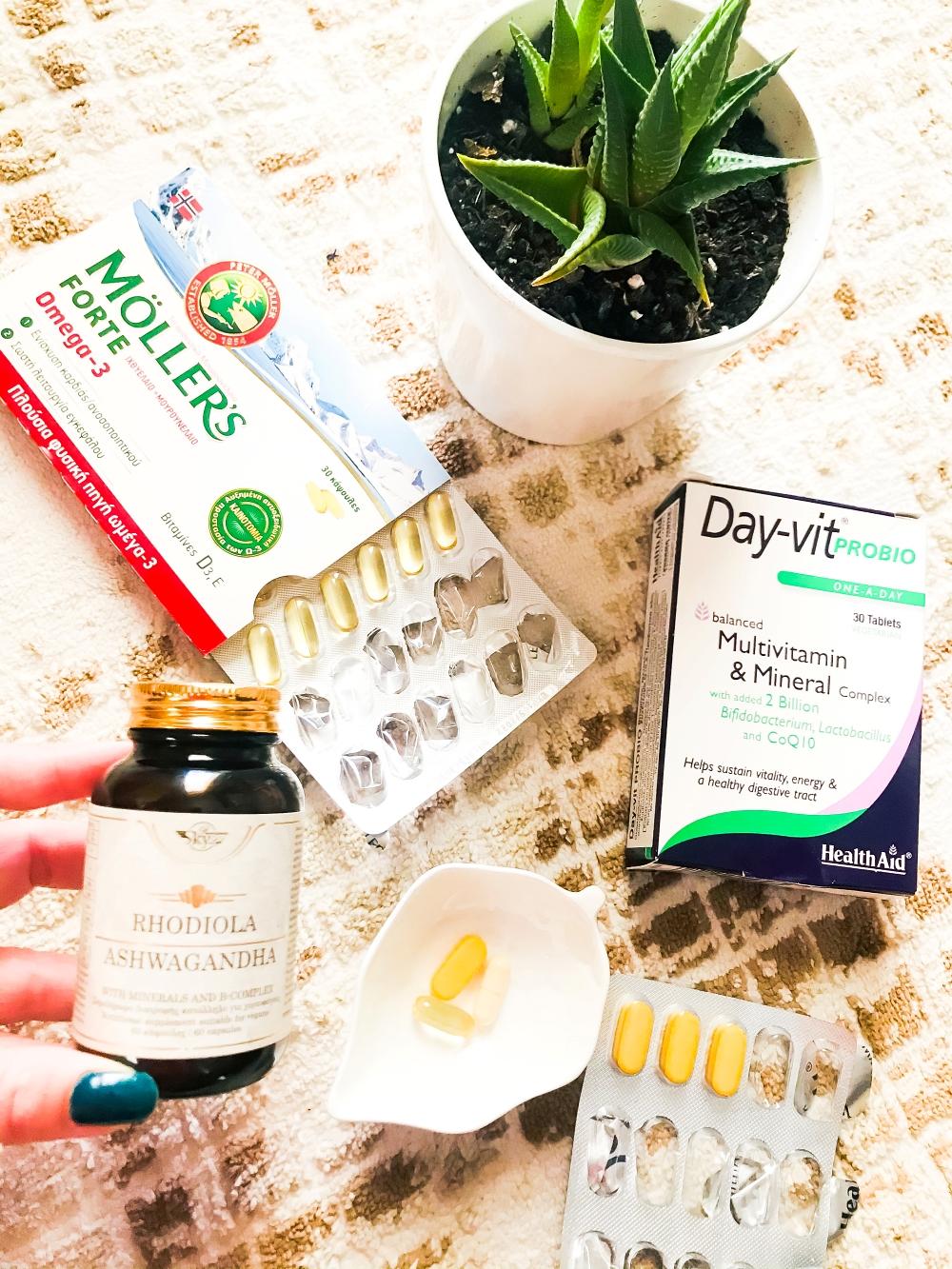 Sky Life ashwagandha rodiola, Mollers omega-3, Health aid multivitamins minerals, daily supplements