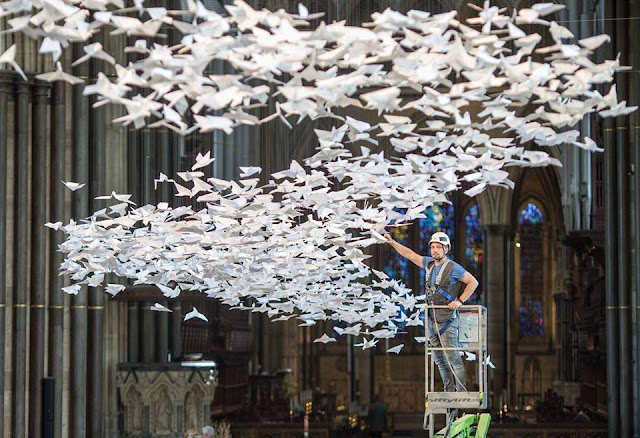Thousands of white doves are installed in Salisbury Cathedral in the UK